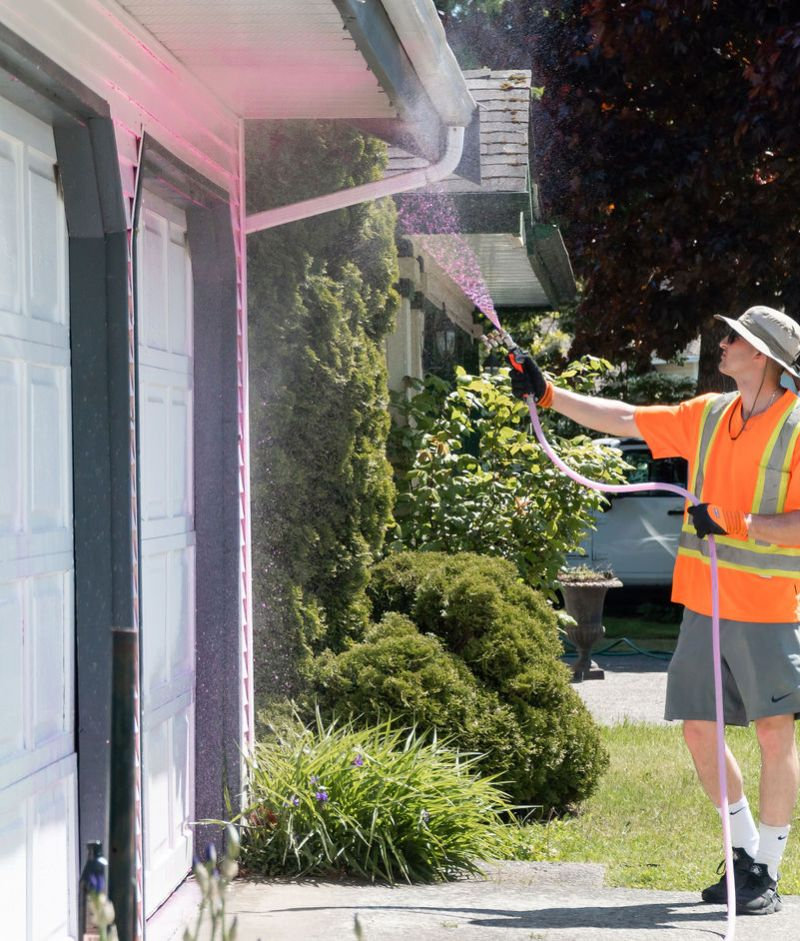 Soft washing in front of a house, cleaning gutters and garage doors with a low pressure soft washing