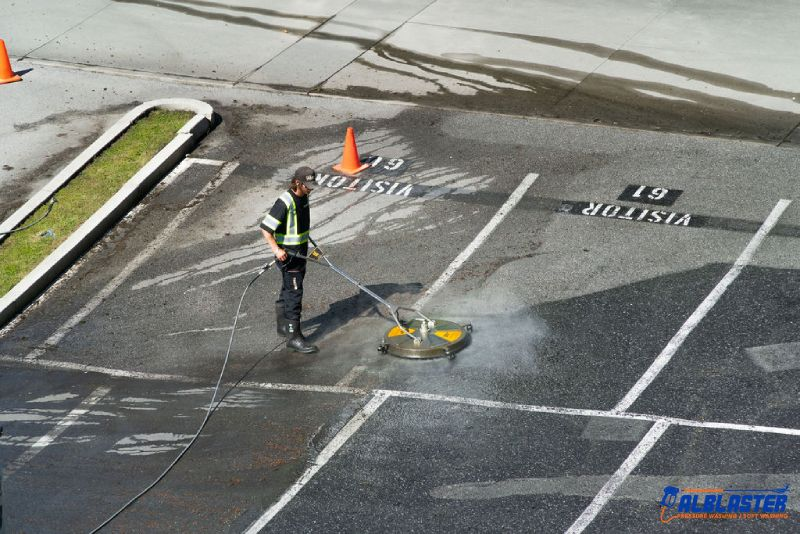 Commercial parking lot pressure washing in West Vancouver