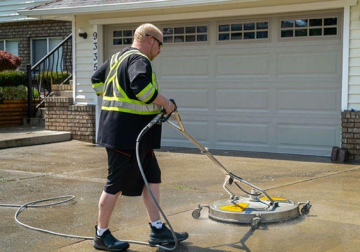 Residential driveway pressure washing