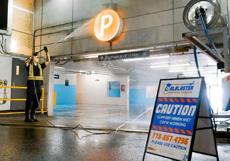Underground Parking Lot Pressure Washing