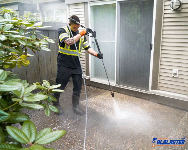 Terrace pressure washing with Alblaster.